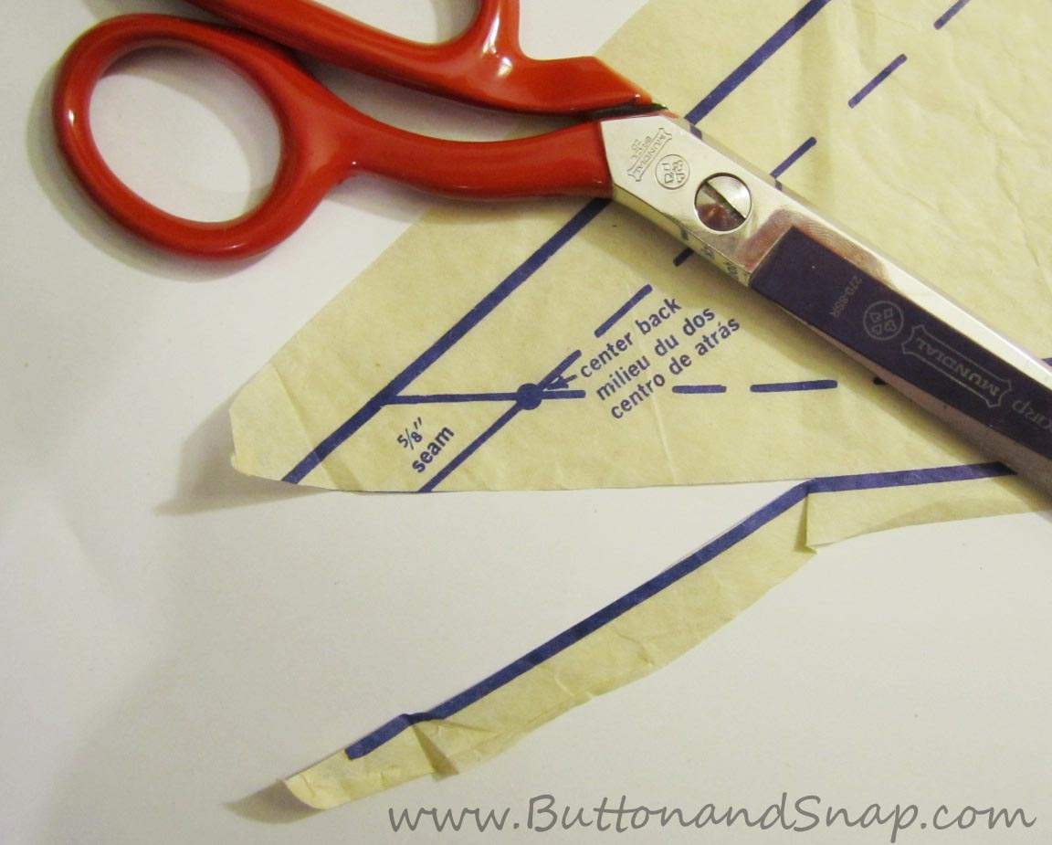For more accurate sewing, cut inside the line on the sewing pattern