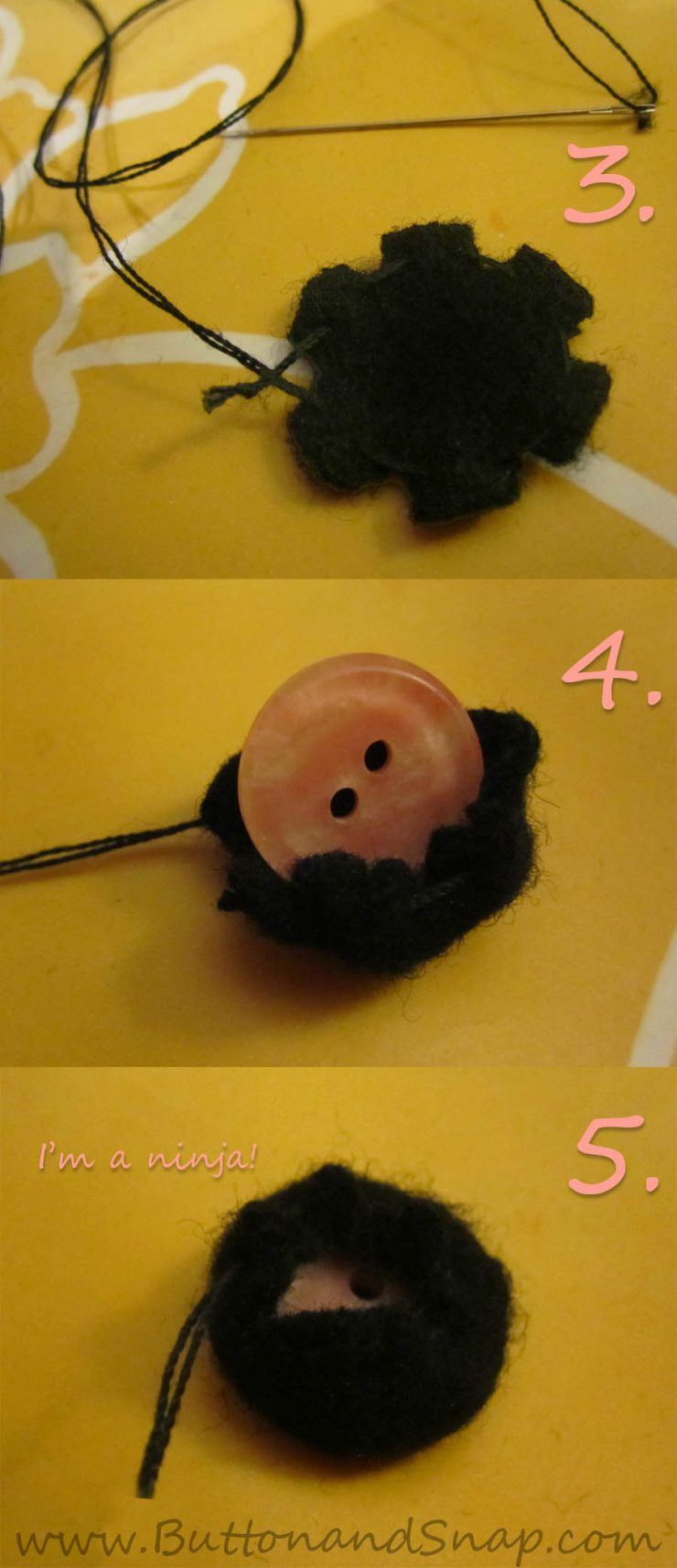 Recycling old buttons by hand-covering them in wool felt