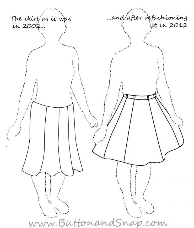 Sketch of a skirt before and after refashion