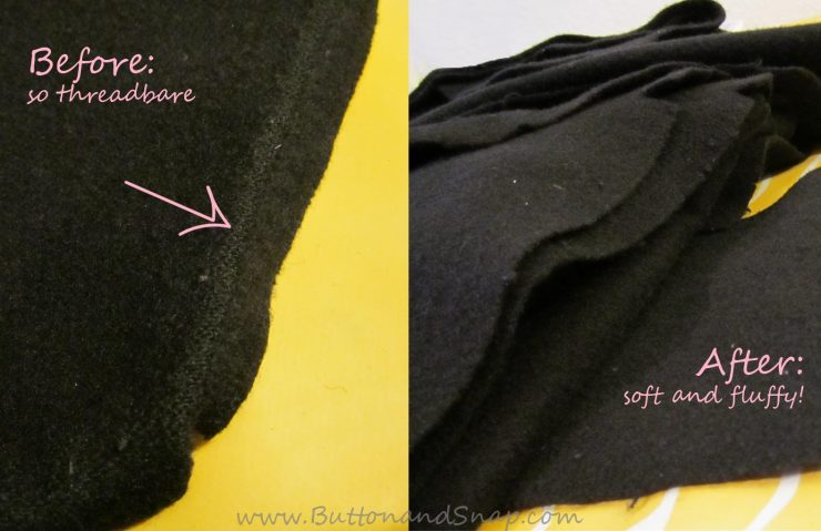 Old wool fabric before and after felting in washing machine