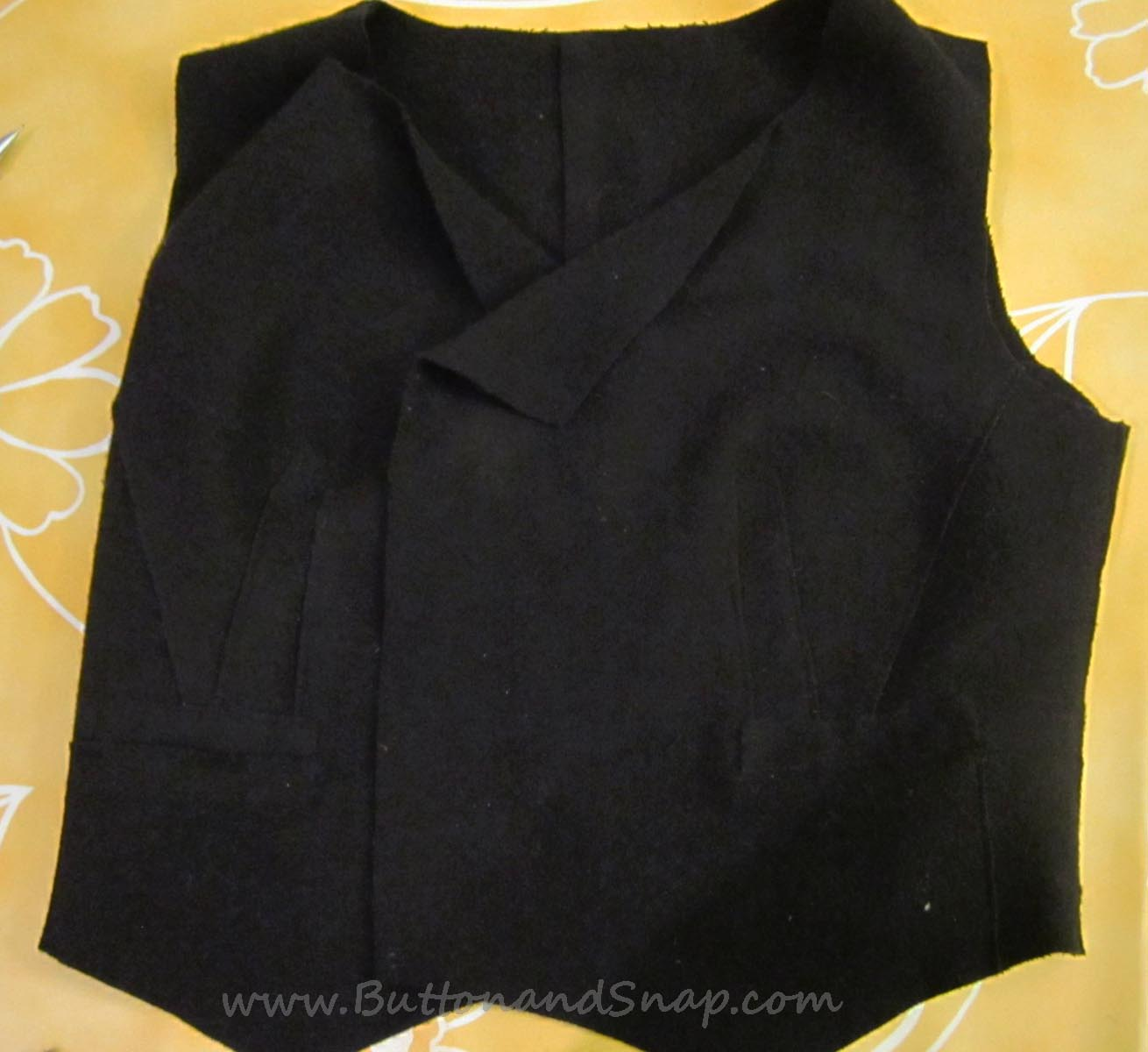 beginning of refashion from old coat to new vest