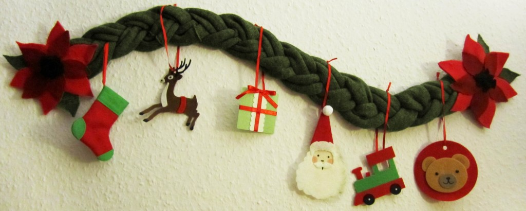 A recycled Christmas Garland