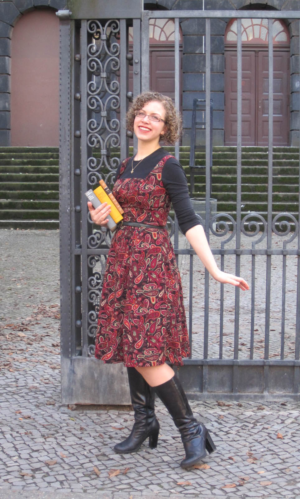 Me Made Midweek red paisley dress in a 1950's style, perfect for fall