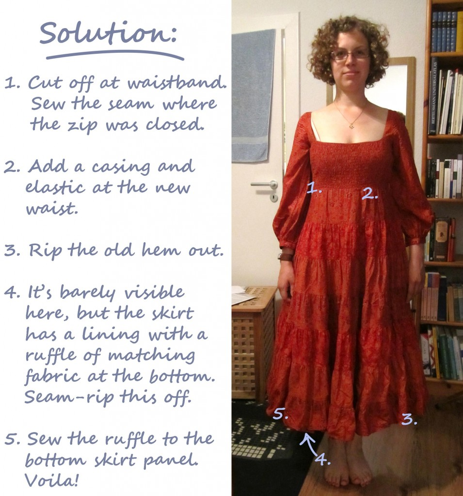 sew maxi skirt from old dress