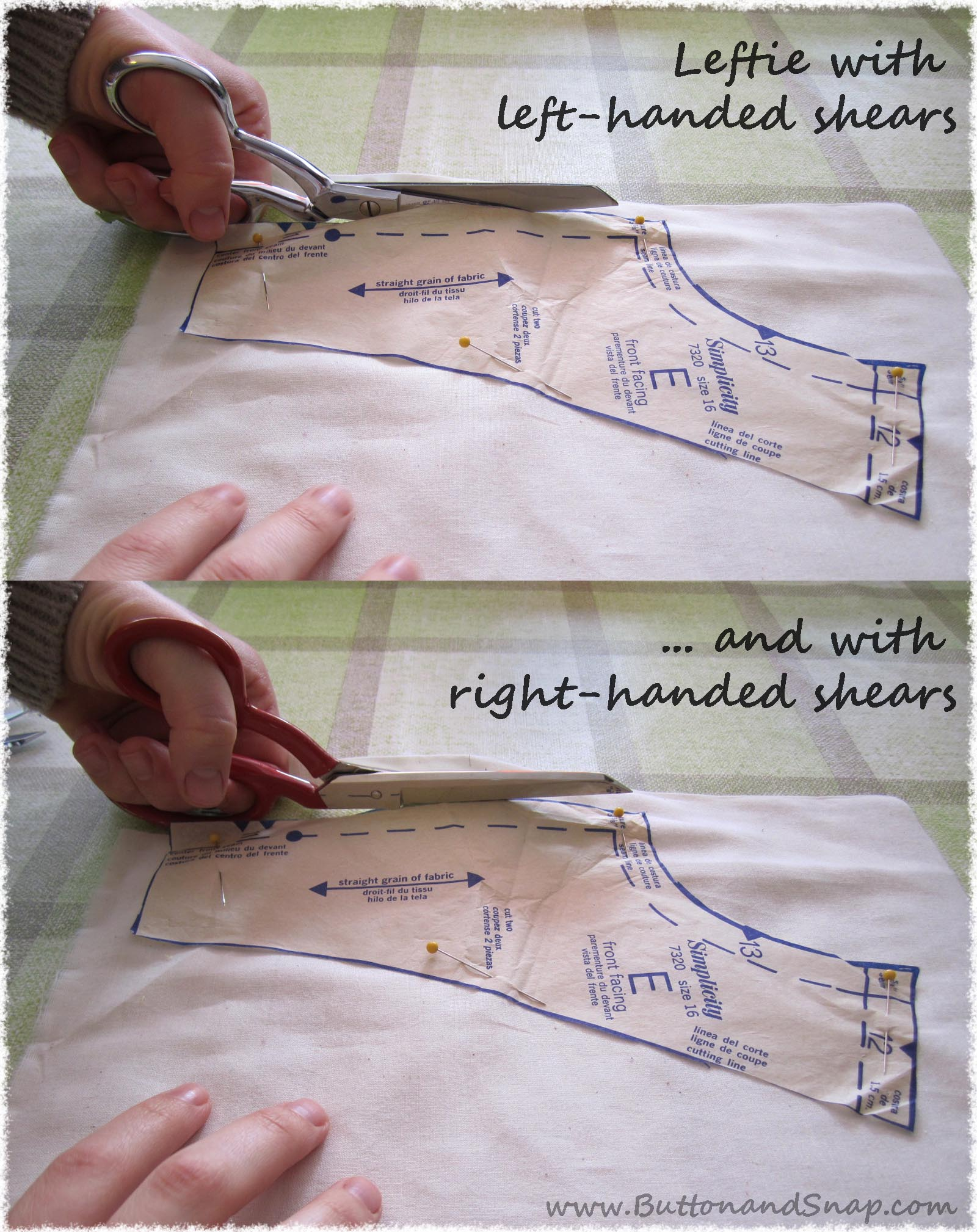 Cutting fabric with left-handed shears vs right-handed shears