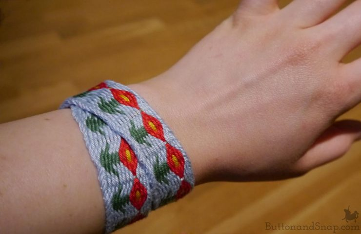 Woven band on wrist