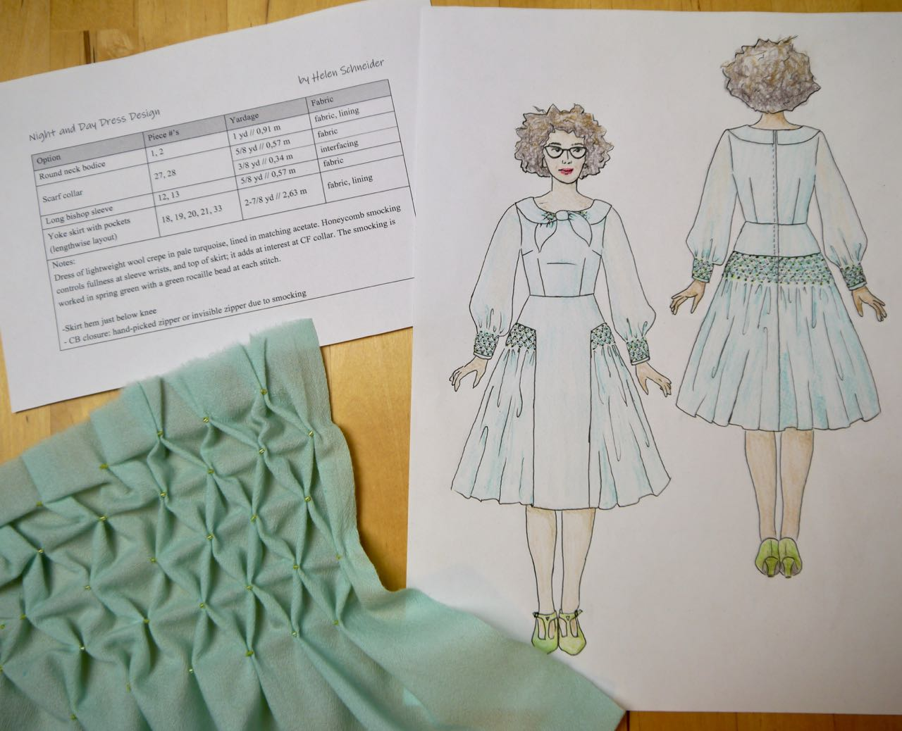 Smocked Night and Day Dress Contest Entry - Button & Snap